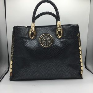 Black Faux Leather Embossed Shopper Tote